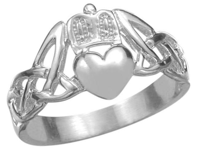 Genuine Sterling Silver Claddagh Knot Ring - 8