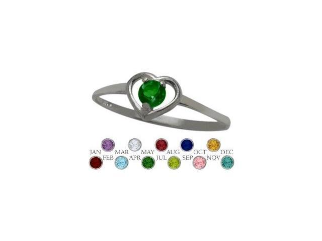 10 Karat White Gold Created Emerald Solitaire Gem Round Shape Baby Ring - SIZE 4