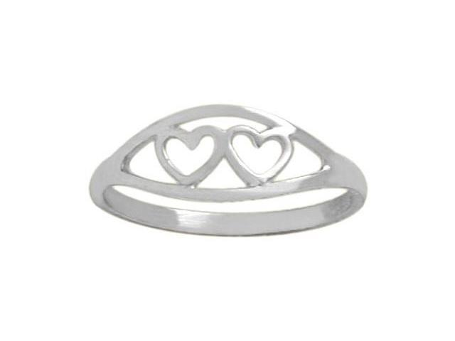 Genuine Sterling Silver Double Heart Baby Ring - SIZE 4