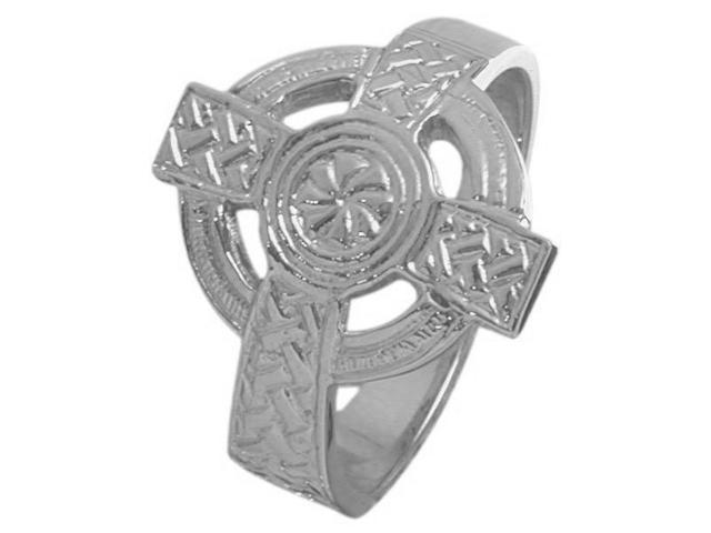 Large Sterling Silver Celtic Cross Ring - 7