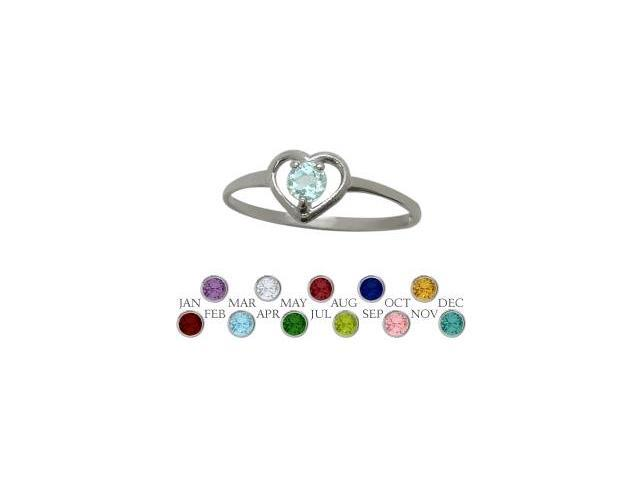 10 Karat White Gold Created Aquamarine Solitaire Gem Round Shape Baby Ring - SIZE 3