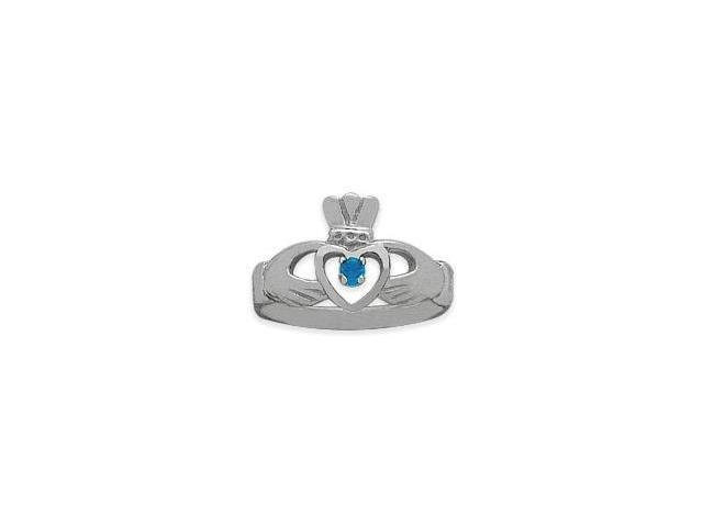 Ladies 10 Karat White Gold Blue Topaz Claddagh Ring - 5