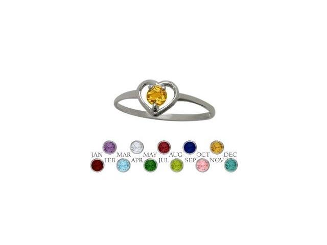 Genuine Sterling Silver Genuine Citrine Solitaire Gem Round Shape Baby Ring - SIZE 4