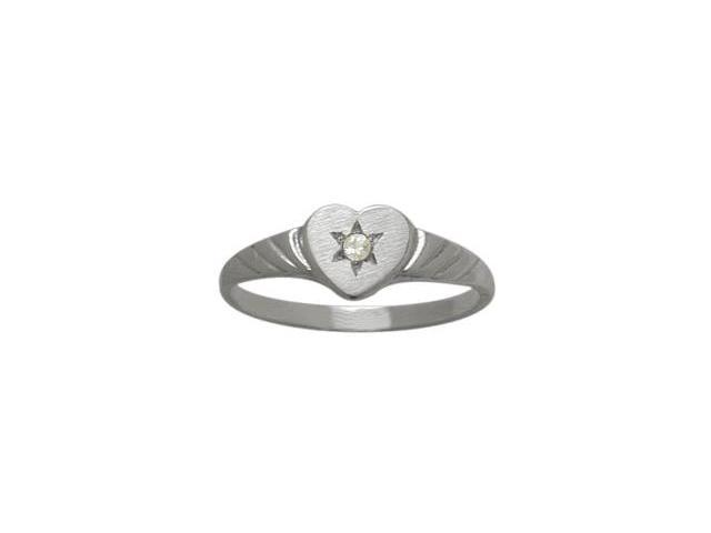 Genuine Sterling Silver Genuine White Topaz Heart Solitaire Baby Ring - SIZE 4