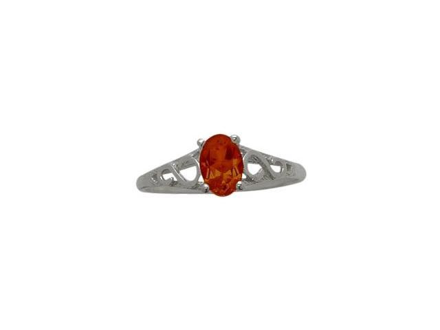 10 Karat White Gold Genuine Garnet Oval Gemstone Baby Ring - SIZE 4