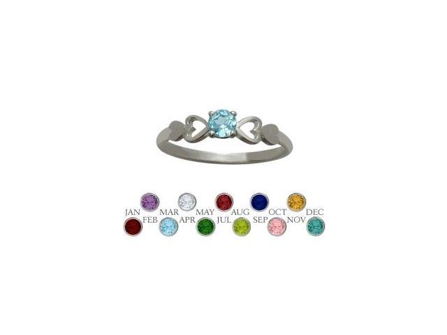 Genuine Sterling Silver Genuine Blue Topaz  Round Shape Baby Ring - SIZE 2