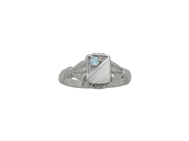 Genuine Sterling Silver Created Aquamarine Rectangular Gemstone Baby Ring - SIZE 2