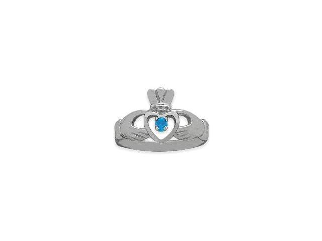 Ladies 10 Karat White Gold Aquamarine Claddagh Ring - 6.25