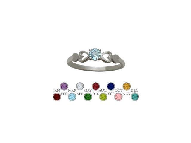 Genuine Sterling Silver Created Aquamarine  Round Shape Baby Ring - SIZE 3