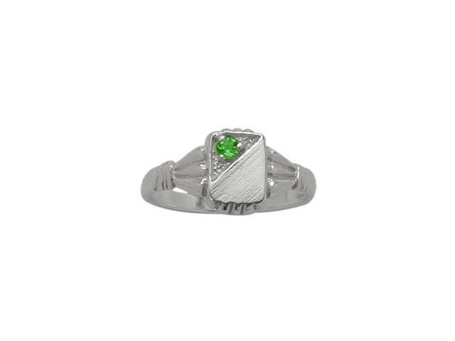 Genuine Sterling Silver Created Emerald Rectangular Gemstone Baby Ring - SIZE 2