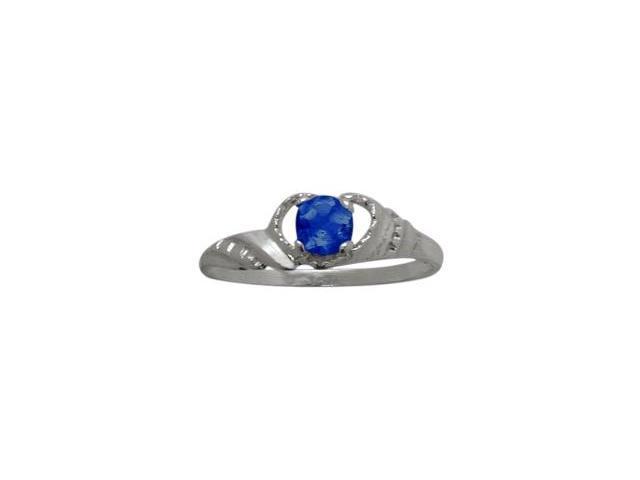 10 Karat White Gold Created Sapphire Gemstone Baby Ring - SIZE 4