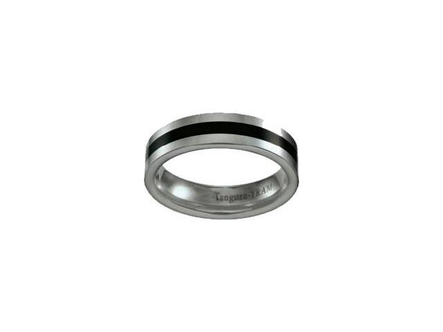 Tungsten with Black 6mm Single Line Ring - Size 9