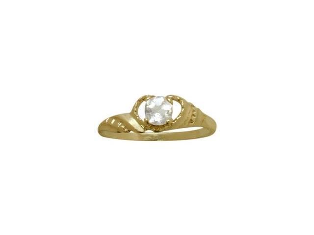 14 Karat Yellow Gold Genuine White Topaz Gemstone Baby Ring - SIZE 3