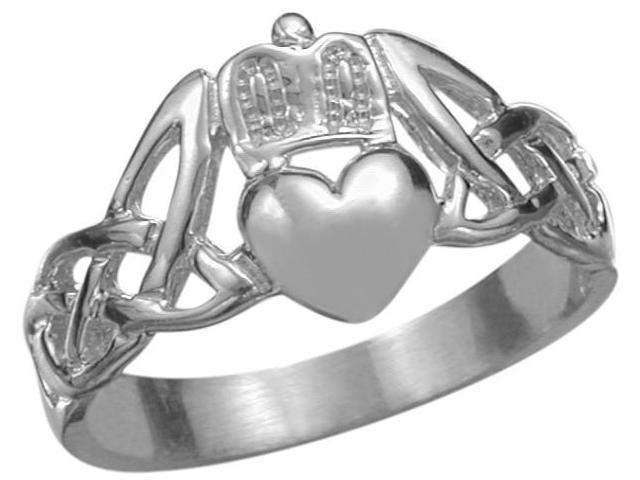 10 Karat White Gold Claddagh Knot Ring - 425