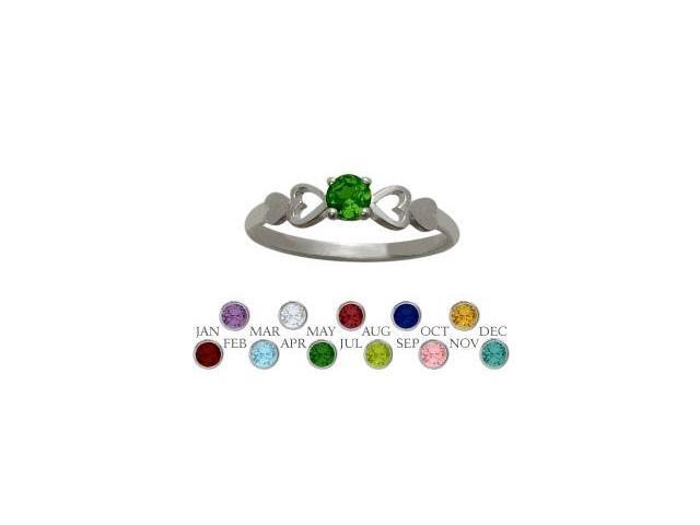 Genuine Sterling Silver Created Emerald  Round Shape Baby Ring - SIZE 2