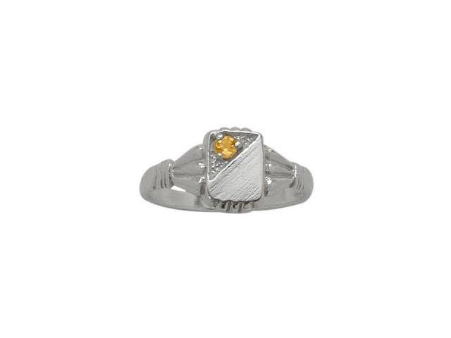 Genuine Sterling Silver Genuine Citrine Rectangular Gemstone Baby Ring - SIZE 2