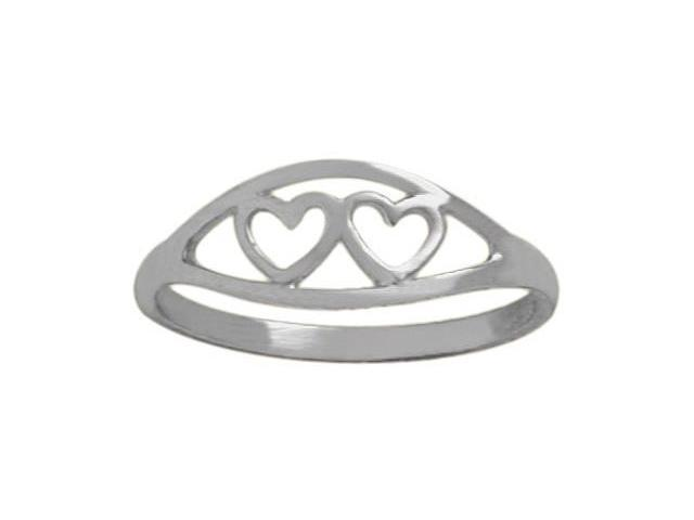 10 Karat White Gold Double Heart Baby Ring - SIZE 3