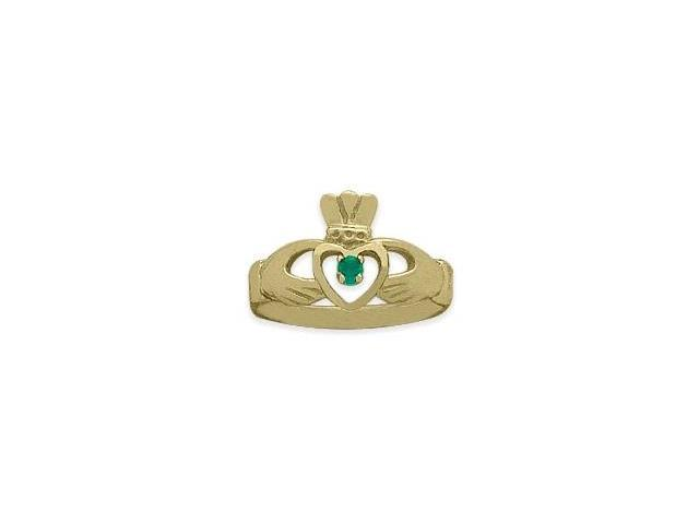 Ladies 10 Karat Yellow Gold Peridot Claddagh Ring - 6