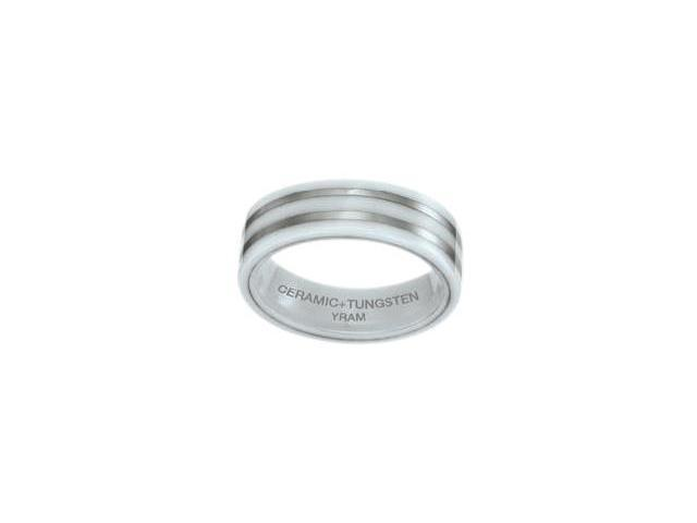 White Ceramic & Tungsten 7mm Double Line Ring - Size 14