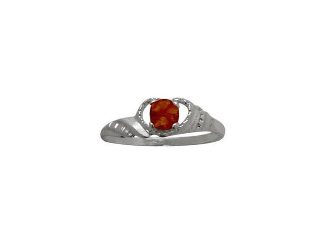 10 Karat White Gold Genuine Garnet Gemstone Baby Ring - SIZE 2