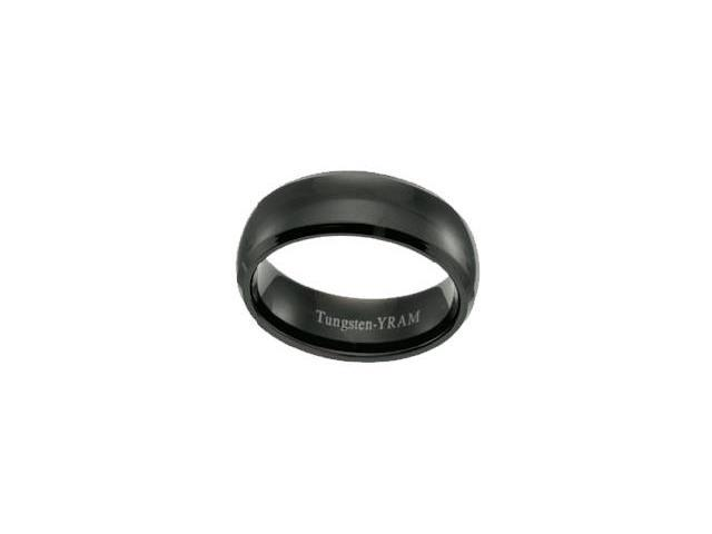 Black Tungsten 8mm Half Round Ring - Size 12.5