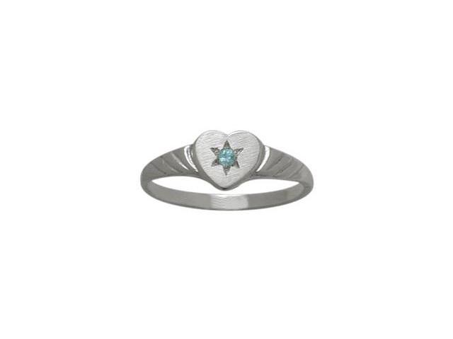 10 Karat White Gold Genuine Blue Topaz Heart Solitaire Baby Ring - SIZE 4