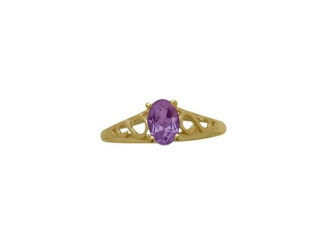 14 Karat Yellow Gold Genuine Amethyst Oval Gemstone Baby Ring - SIZE 3