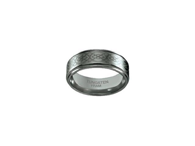 Tungsten Celtic Knot 8mm Flat Ring - Size 11.5