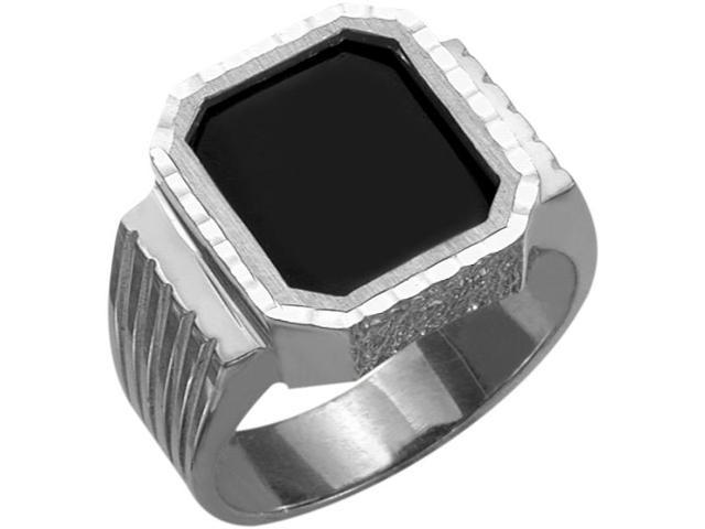 Men's Silver Black Onyx & Diamond Cut Ring - 9.5