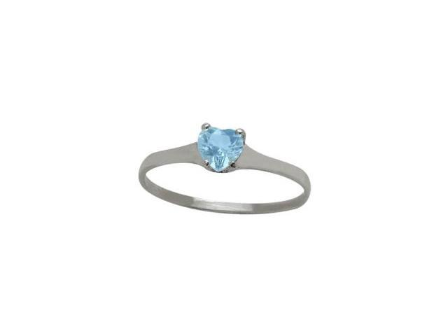 Genuine Sterling Silver Genuine Blue Topaz Heart Solitaire Baby Ring - SIZE 4