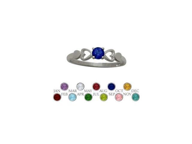 Genuine Sterling Silver Created Sapphire  Round Shape Baby Ring - SIZE 3