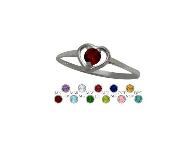 10 Karat White Gold Genuine Garnet Solitaire Gem Round Shape Baby Ring - SIZE 2