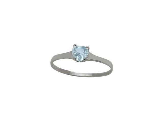Genuine Sterling Silver Created Aquamarine Heart Solitaire Baby Ring - SIZE 4