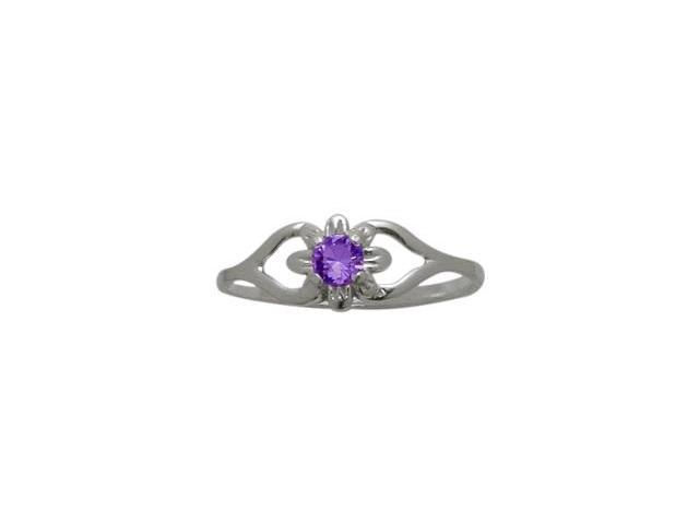 Genuine Sterling Silver Genuine Amethyst Flower Solitaire Baby Ring - SIZE 3