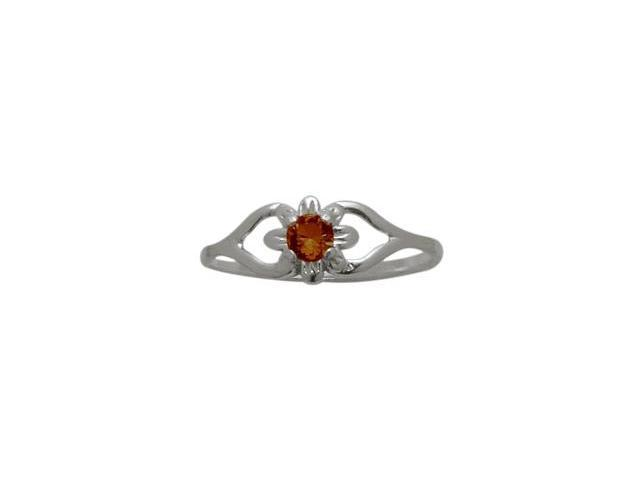 Genuine Sterling Silver Genuine Garnet Flower Solitaire Baby Ring - SIZE 2
