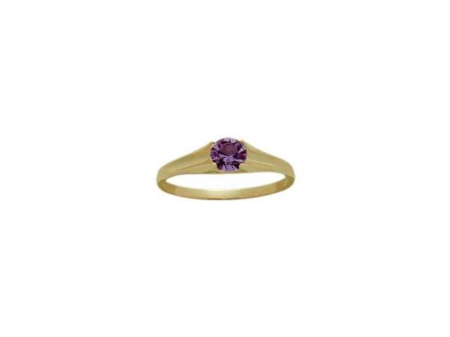 14 Karat Yellow Gold Genuine 0.24tcw. Amethyst February Baby Gemstone Ring