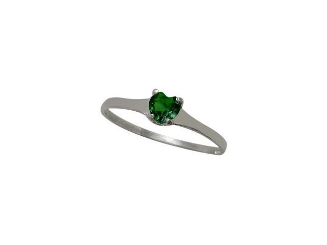Genuine Sterling Silver Created Emerald Heart Solitaire Baby Ring - SIZE 4