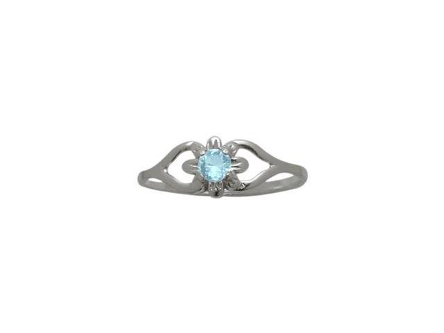 10 Karat White Gold Genuine Blue Topaz Flower Solitaire Baby Ring - SIZE 2