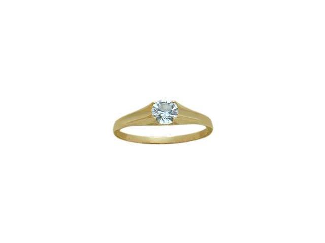 14 Karat Yellow Gold Genuine 0.25tcw. Aquamarine March Baby Gemstone Ring