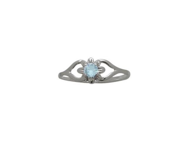 10 Karat White Gold Created Aquamarine Flower Solitaire Baby Ring - SIZE 2