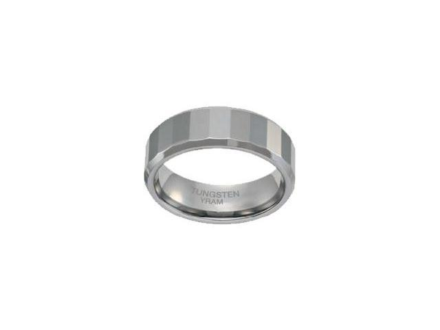 Tungsten 8mm Faceted Bevelled Edge Flat Ring - Size 8