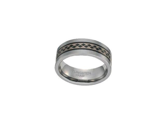 Tungsten with Design 8mm SPINNING Ring - Size 14
