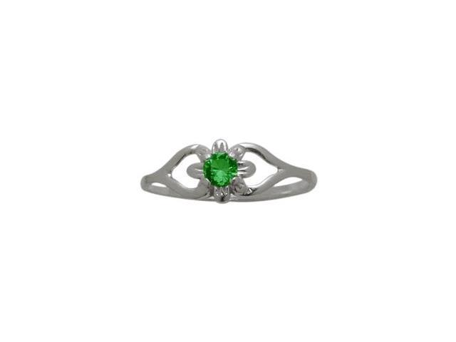 Genuine Sterling Silver Created Emerald Flower Solitaire Baby Ring - SIZE 4