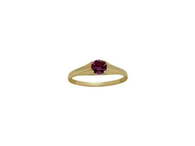 14 Karat Yellow Gold Genuine Rhodolite June Baby Gemstone Ring - 4