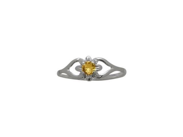 Genuine Sterling Silver Genuine Citrine Flower Solitaire Baby Ring - SIZE 3