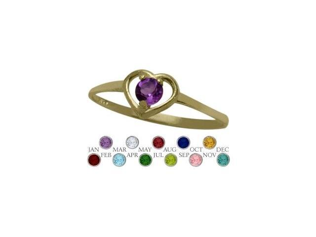 14 Karat Yellow Gold Genuine Amethyst Solitaire Gem Round Shape Baby Ring - SIZE 3