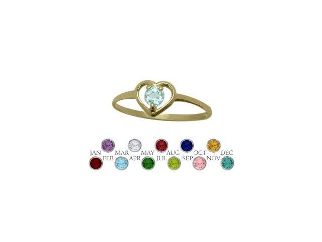 14 Karat Yellow Gold Created Aquamarine Solitaire Gem Round Shape Baby Ring - SIZE 2