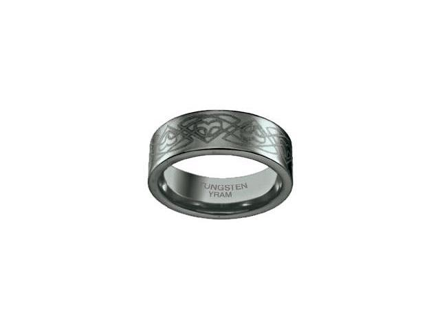 Tungsten Celtic Trillium 8mm Flat Ring - Size 10.5
