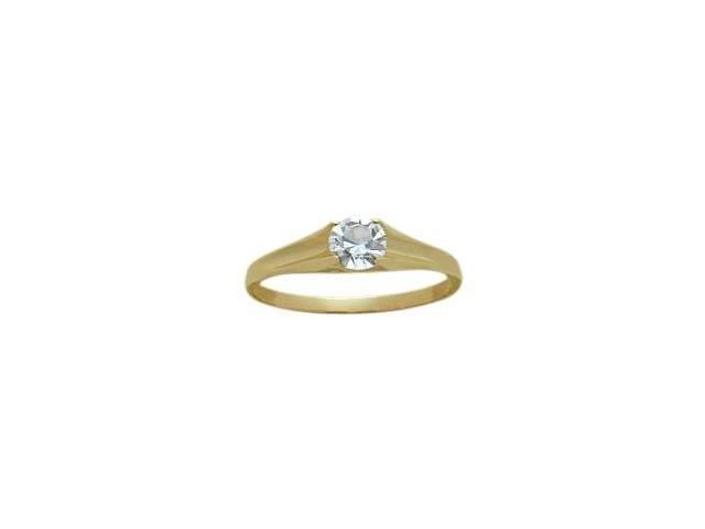 14 Karat Yellow Gold Genuine 0.33tcw. White Topaz April Baby Gemstone Ring