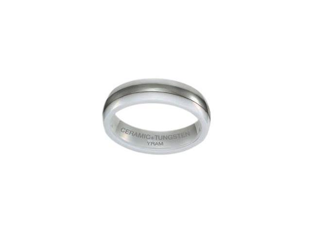 White Ceramic & Tungsten 6mm Single Line Ring - Size 13